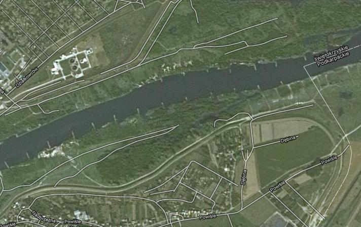 Widok na tamy w Sandomierzu z satelity